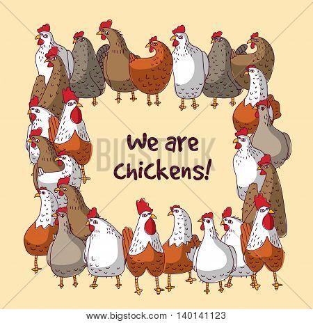 Birds chickens group farm animals color frame border. Color vector illustration. EPS8