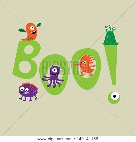 The cute monsters with a word boo