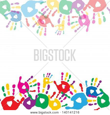 Greeting Card With Colored Prints Of Children's Hands