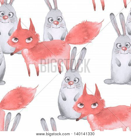 Hare and fox. Seamless pattern 3. Hand drawn watercolor animals