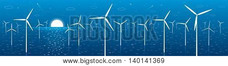 Ecology panorama, windmills, turbines at sea, wind force, energy illustration, vector design art