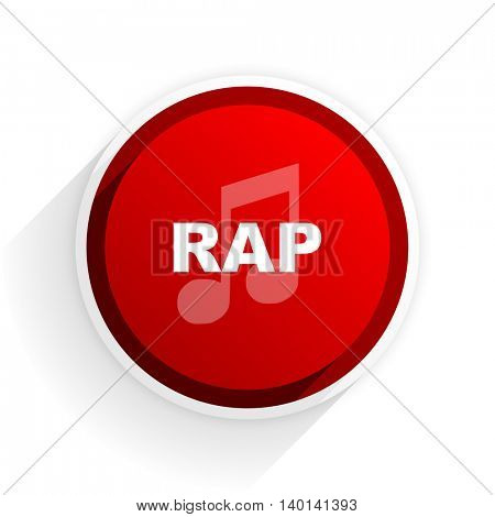 rap music flat icon with shadow on white background, red modern design web element