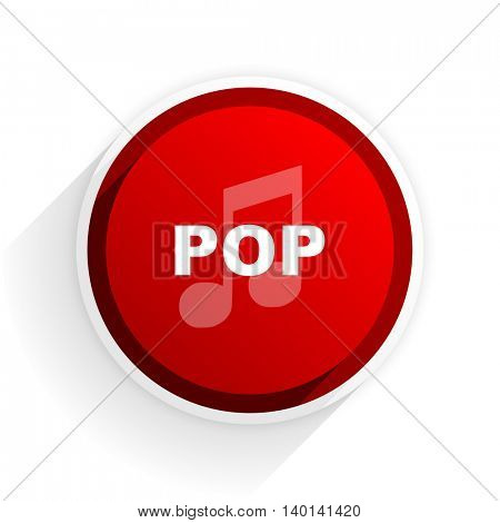 pop music flat icon with shadow on white background, red modern design web element