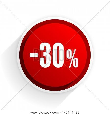 30 percent sale retail flat icon with shadow on white background, red modern design web element