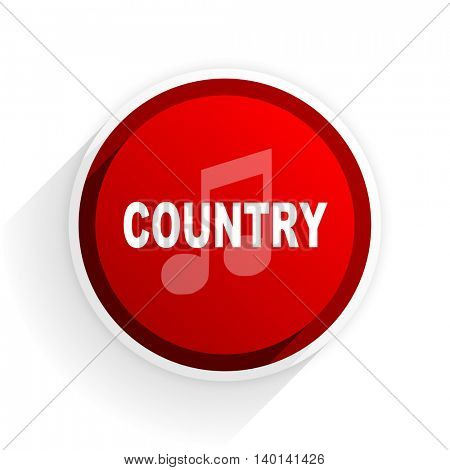 music country flat icon with shadow on white background, red modern design web element