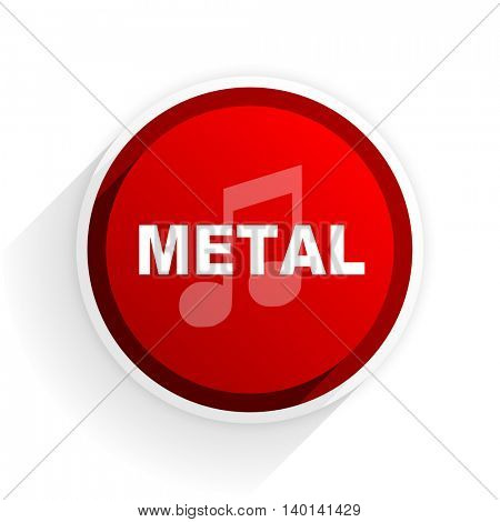 metal music flat icon with shadow on white background, red modern design web element