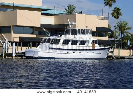 Large boat on Anclote river just of The Gulf Of Mexico