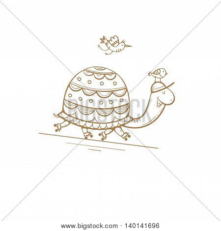 Card with cute cartoon  turtle on roller skates and birds. Sport walk. Children's illustration. Funny animals. Vector contour image no fill.