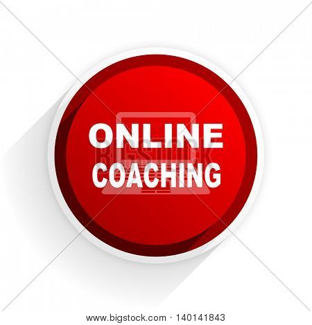 online coaching flat icon with shadow on white background, red modern design web element