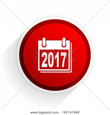 new year 2017 flat icon with shadow on white background, red modern design web element