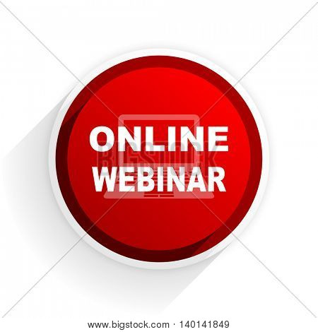 online webinar flat icon with shadow on white background, red modern design web element
