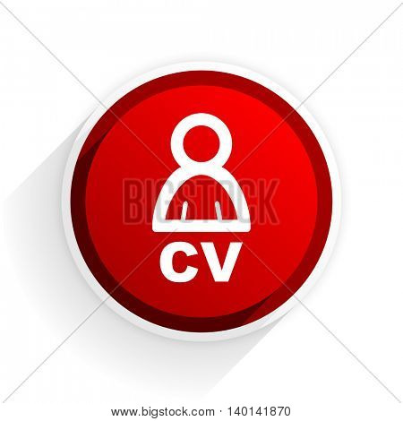 cv flat icon with shadow on white background, red modern design web element
