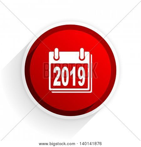 new year 2019 flat icon with shadow on white background, red modern design web element