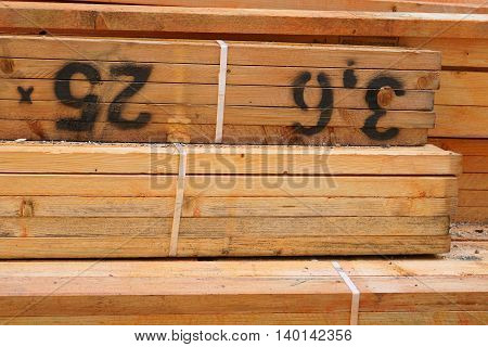 Close Up of Stack of Treated Lumber Bundles