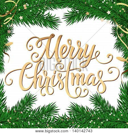 Merry Christmas lettering. Christmas greeting card with fir sprigs and little stars. Handwritten text with decorative elements can be used for greeting cards, posters