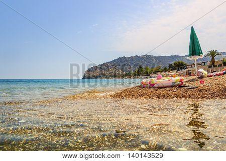 SUMMERTIME. Gargano coast: Piana di Mattinata beach. MATTINATA  (Apulia) - ITALY-