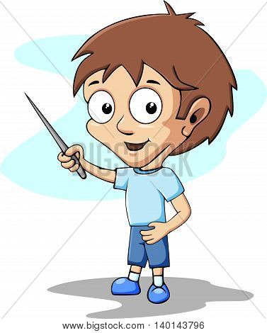 Cartoon student Character Holding a Pointer Stick