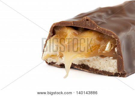 chocolate wafer bar isolated on white background