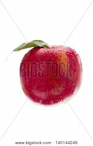 close up shot of red apple with water drops on it