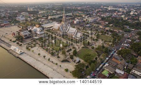 aerial view church of wat sothorn temple important religion landmark in thailand