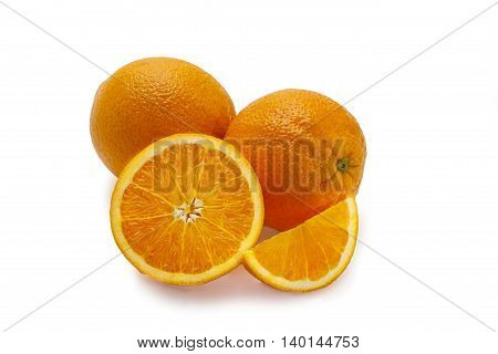 different orange slices isolated on white background