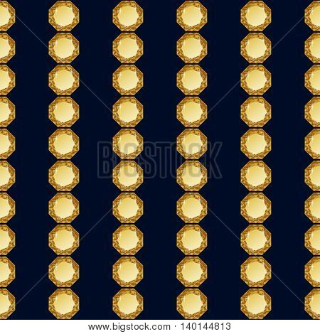 Abstract diamond vector background. Gold Jem seamless pattern.