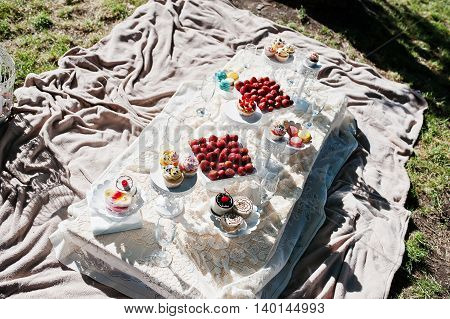 Picnic Table With Decor On Grass With Macaroon, Strawberry And Cup Cake