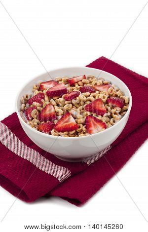 fruity cereal on a red table napkin