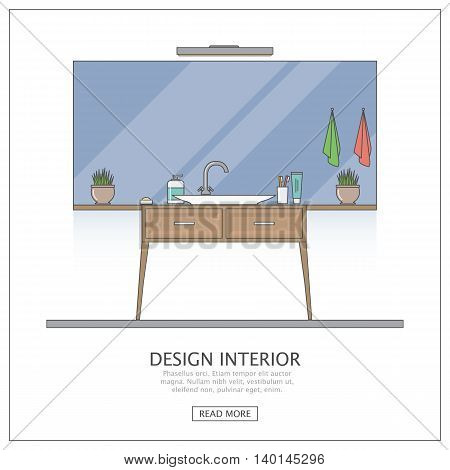 Bathroom with large mirror. Modern interior design of bathroom in outline the flat style. Vector Illustration.