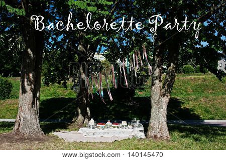 Picnic Table With Decor On Grass Near Trees. Bachelorette Party Inscription