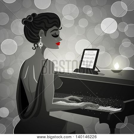Black retro illustration depicting woman in evening dress at the piano vector illustration