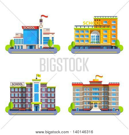 Modern and classical school buildings with flags on steeple and clock flat isolated elements for city construction vector illustration