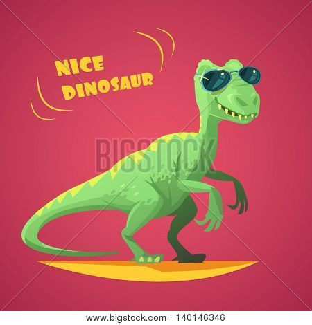 Nice funny green dinosaurus in sunglasses cartoon character toy on red background poster print abstract vector illustration