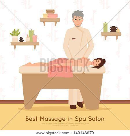 Woman getting best massage in beauty salon spa flat vector illustration