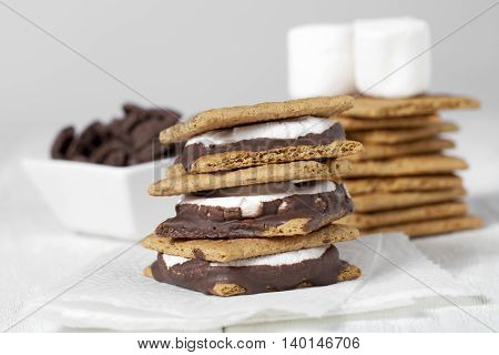 smores sandwich with marshmallow chocolate and crackers