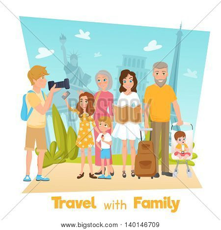 Happy family with children travelling and taking photos with famous sights cartoon vector illustration