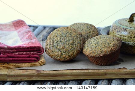Poppy Seed, Wheat Germ and Honey Muffins; healthy treat.