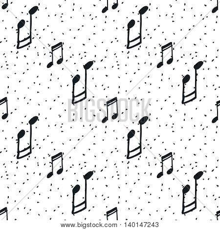 Seamless pattern with music notes. Hand-drawn black and white background.