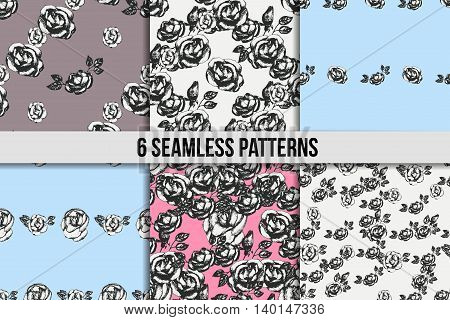 Vintage black and white rose seamless pattern set. Six floral backgrounds in pink, blue and grey colours