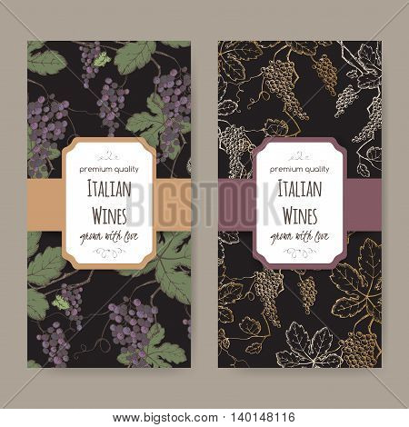 Set of two Italian wine label templates with color grapevine pattern on black background. Great for wineries, grocery stores, wine label design.
