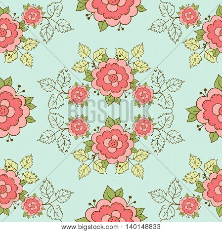 Seamless pattern with hand drawn pink roses and green leaves. Doodle design. Vector illustration.