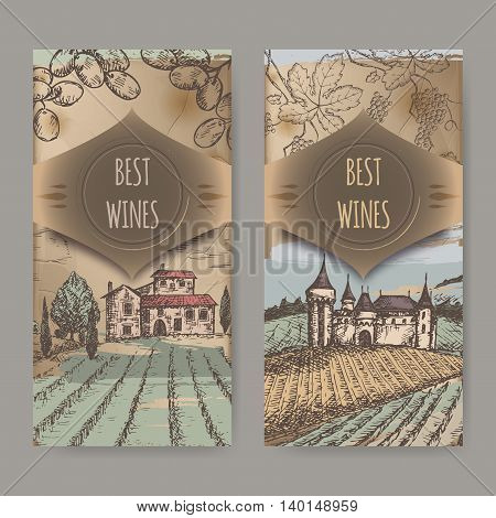 Set of two vintage wine label templates with vineyard and castle color sketch. Placed on old paper background texture. Great for wineries, grocery stores, wine label design.