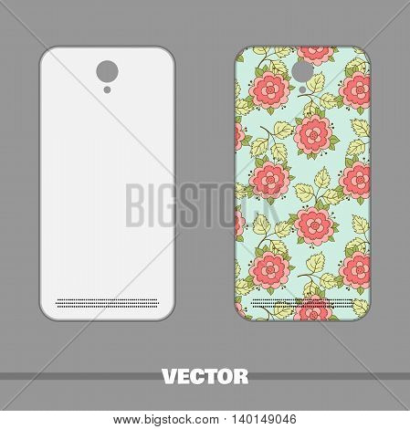 Phone cover with bright floral pattern. Vector illustration.