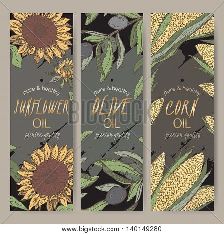 Set of three vector sunflower, olive, corn oil label templates on black background. Based on color hand drawn sketch. Great for packaging and advertising design.
