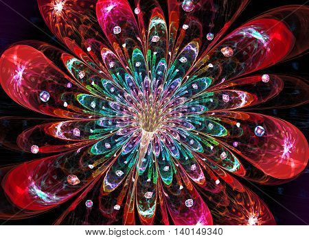 fractal illustration background bright fantastic beautiful flower with drops