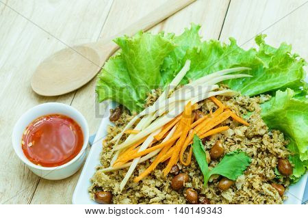 Crispy catfish and spicy sauce with vegetable The delicious Thai food