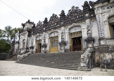 King Khai Dinh Imperial Tomb building in Hue, Vietnam
