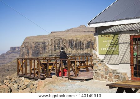 Sani Pass, Lesotho - July 15, 2016: The terrace of the Highest Pub in Africa. Sani Mountain Lodge. Winter in Africa.