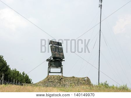 CRACOW POLAND - JULY 26 2016: Mobile medium range radar NUR 15. The anti-terrorist protection before the airstrike during World Youth Day 2016