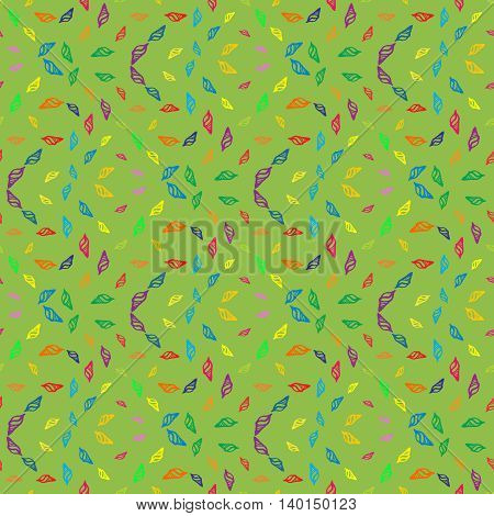 Doodles seashells background seamless pattern on green background